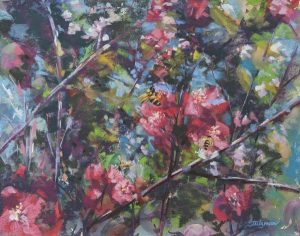 Save the Bees, an award-winning 11 x 14 pastel by Jeannette Stutzmanpastel by